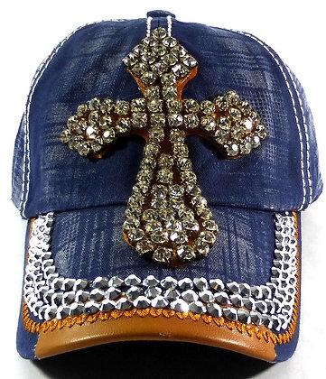 Denim Cross Bling Hat