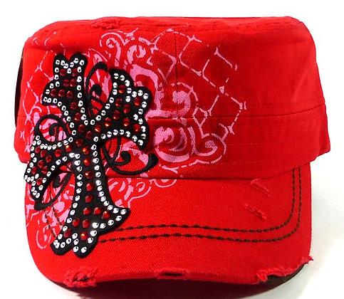 ChrisTeez Bling Cross Red Hat