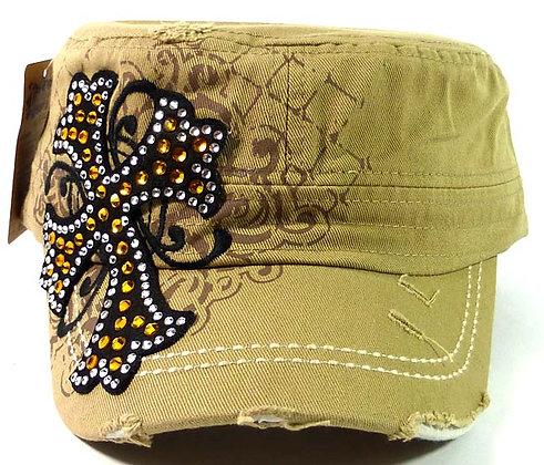ChrisTeez Bling Cross Khaki Hat