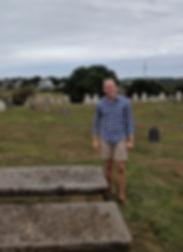 Kyle Miller with Grave of Capt. James Sands, Block Island