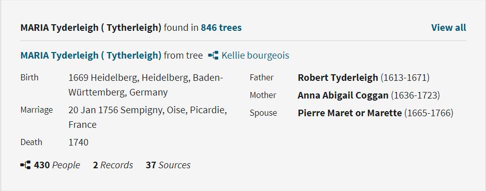Maria Tyderleigh Family Tree on Ancestry.com