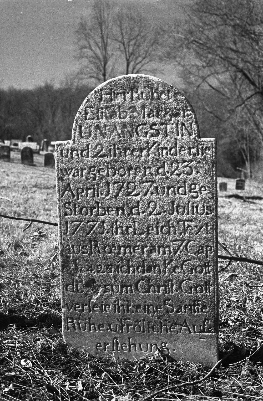 "Grave of Elisabeth Margaretha (Heuter) Unangst,  St. Luke's ""Old Williams"" Cemetery, Williams Township, Northampton County, Pennsylvania"