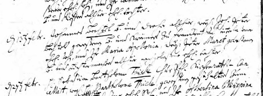 Marriage Record of Johannes Bechtel and Maria Apollonia Maret - Heidelberg, 1715