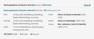 Maria Tyderleigh Maret Family Tree on Ancestry.com