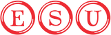 Red ESU logo with each letter in a circle.