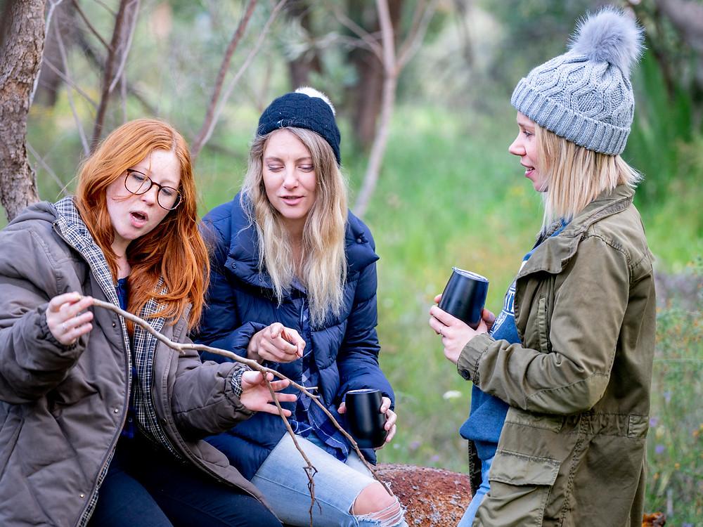 Girls camping in the Australian bush