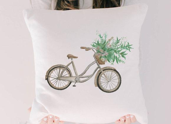 Floral Bike Watercolor Pillow
