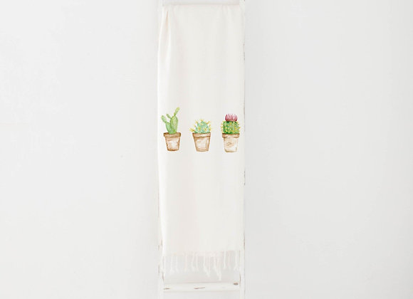 Cactus Watercolor Throw Blanket