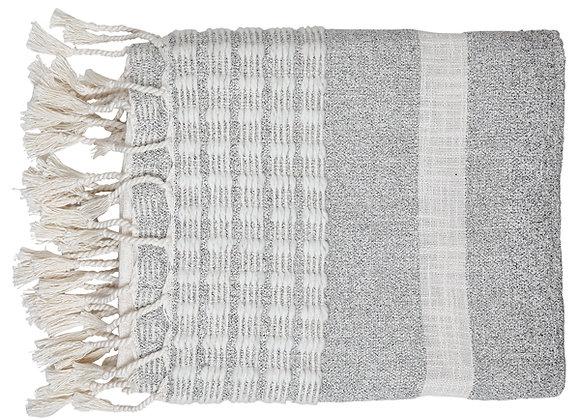 Dusk Stripe Throw Blanket, Grey & White