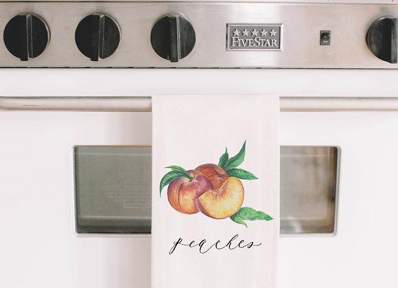Peaches Watercolor Tea Towel