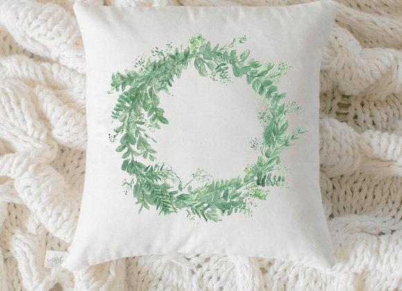 Floral Wreath Watercolor Pillow