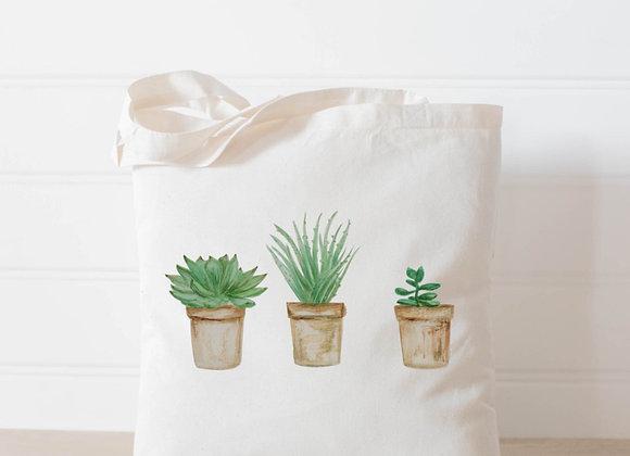 Succulent Pots Watercolor Tote Bag
