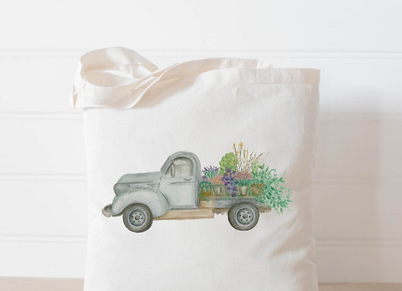 Floral Truck Watercolor Tote Bag