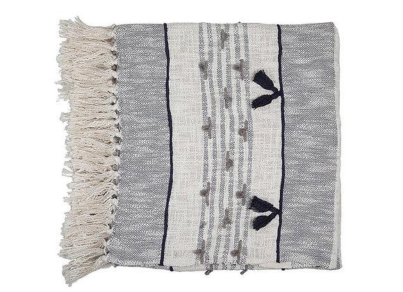 Alma Tassel Throw, Grey - 50x66 inch