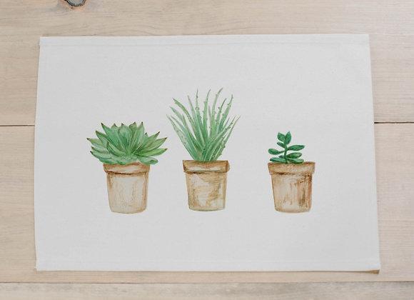 Succulent Pots Watercolor Placemat