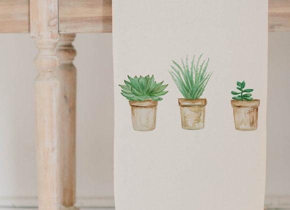 Succulent Pots Watercolor Table Runner