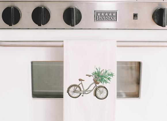 Floral Bike Watercolor Tea Towel