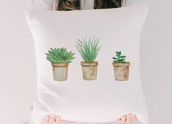 Succulent Pots Watercolor Pillow