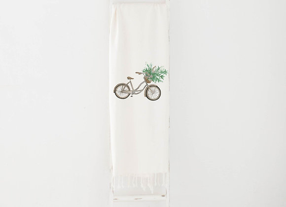 Floral Bike Watercolor Throw Blanket