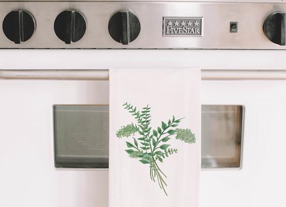 Eucalyptus Bunch Watercolor Tea Towel