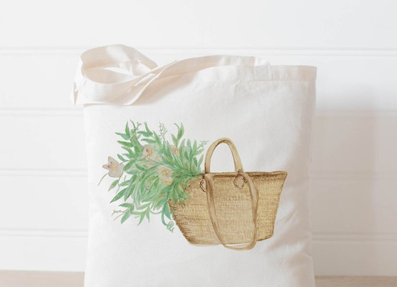 Market Basket Flowers Watercolor Tote Bag