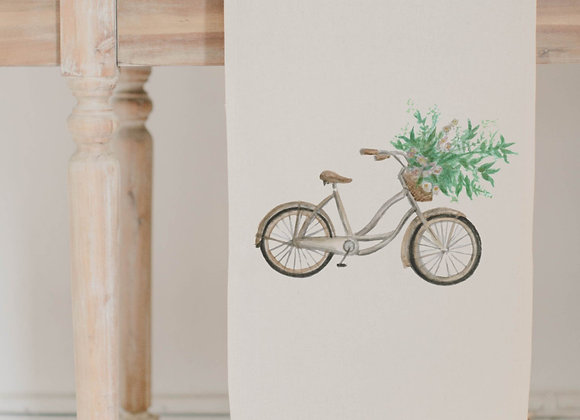 Floral Bike Watercolor Table Runner