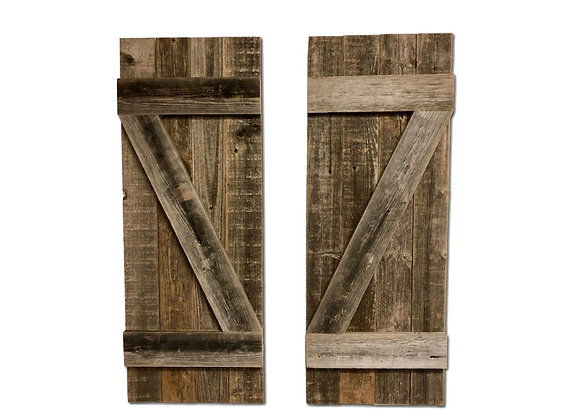 Set of 2 Rustic Natural Weathered Grey Wood Window Shutters with