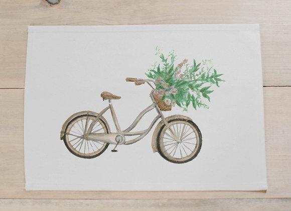 Floral Bike Watercolor Placemat
