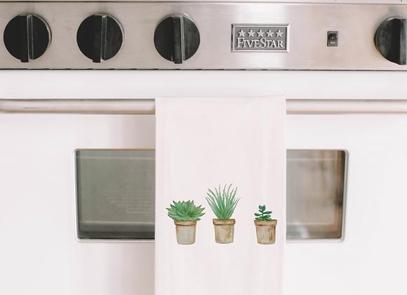 Succulent Pots Watercolor Tea Towel