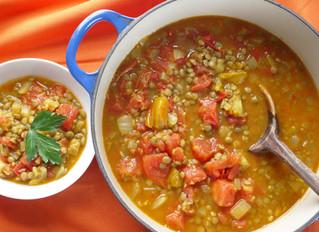 Lentil Curry over Cauliflower Mash