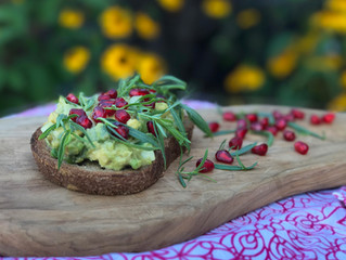 Avocado Toast with Pomegranate Seeds