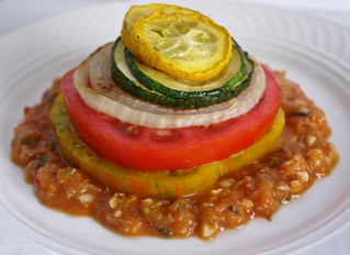 Roasted Vegetable Napolean with Heirloom Tomatoes and Romesco