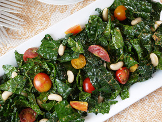 Massaged Kale Salad with Berkshire Cherry Tomatoes and White Beans