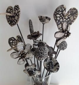Fiori raku bianchi - White raku flowers #1