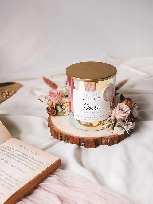 Scented Candle + Floral Holder Set (Candles of Light x TWB)