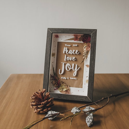 Peace Love Joy - Christmas Flower Frame'19