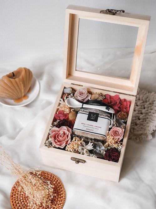 Rose Body Scrub + Floral Box Set