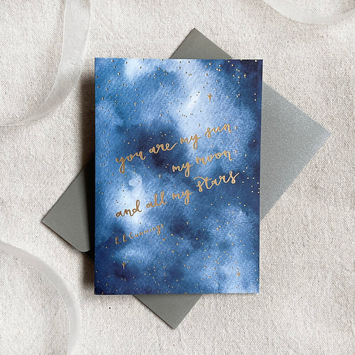 SUN MOON STARS   GOLD-FOILED CARD