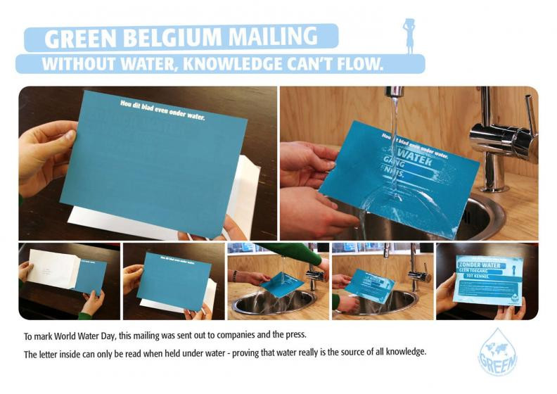 Green Belgium water direct mail campaign