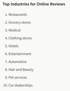Top 10 list of industries for online reviews