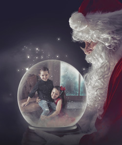 Santa Holding Snow Globe Tara Mapes