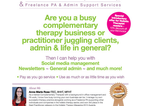 Holistic Therapist Magazine Competition Winner