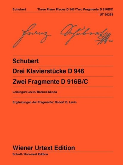 Franz Schubert: Three Piano Pieces, Two Fragments for piano D 946, D 916b/c