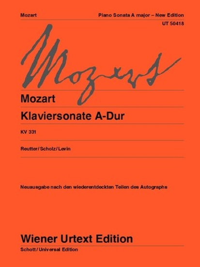 Wolfgang Amadeus Mozart: Sonata - A major for piano KV 330i (331)