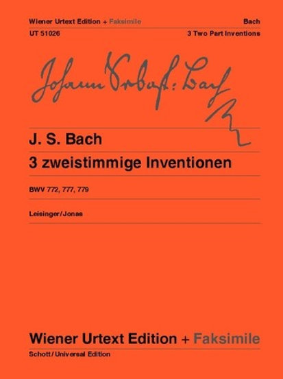Johann Sebastian Bach: 3 Two Part Inventions for piano BWV 772, 777, 779
