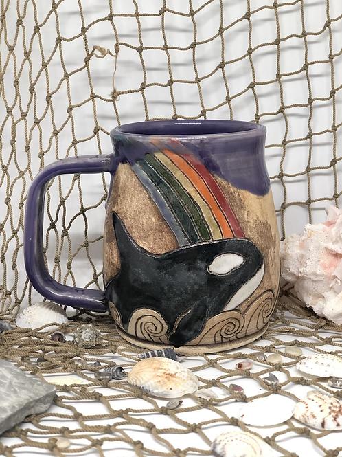 Orca and rainbow mug