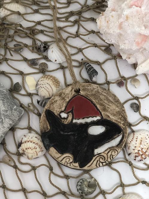 Orca in Santa hat ornament