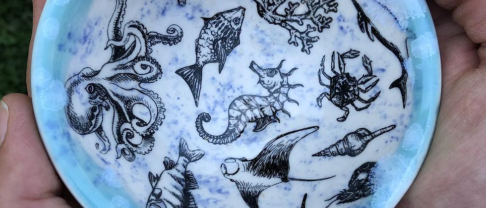 Blue Heart Sea Creature Trinket Dish