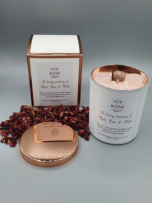 Crystal candle in white jar and box with rose gold lid and custom made label