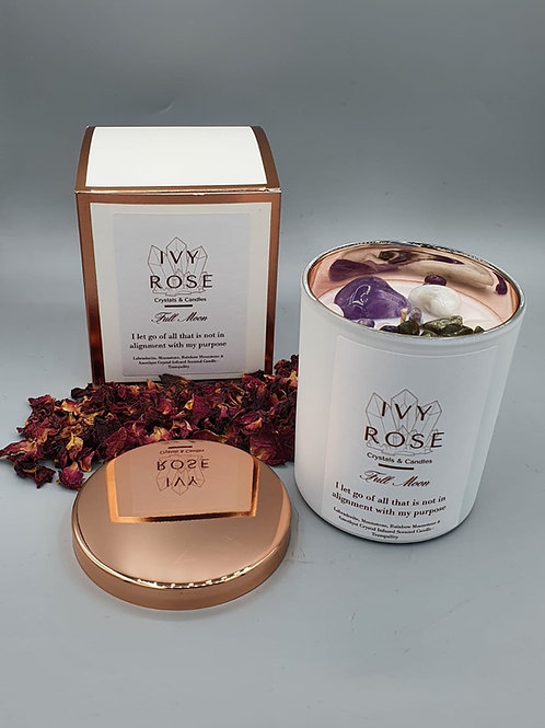 full moon candle in white jar with rose gold lid and box